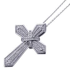 platinum plated sterling silver round cz set cross pendant necklace