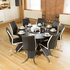 modern large round black oak dining table 8 high back white z chairs