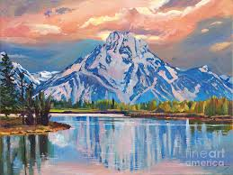 grand tetons painting majestic blue mountain reflections by david lloyd glover
