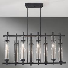 magnificent rectangle chandelier design with shape glass cover and black iron stand