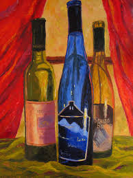 imported wine bottles oil painting commission