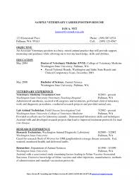 Veterinary Resume Objective Examples Veterinary Technician Cover