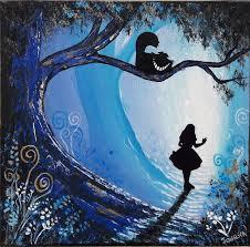 ooak original rare art painted alice in wonderland fantasy painting artwork the cheshire cat