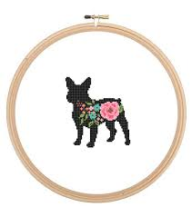 French Cross Stitch Charts Frenchie Bulldog Silhouette Cross Stitch Pattern Floral Roses Pet Animal Wall Art French Bull Dog Cross Stitch Modern Gift