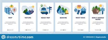 Camping Menu Template Web Site Onboarding Screens Outdoor Travel Hiking And
