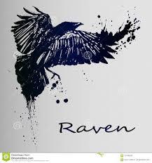 творческий эскиз татуировки темный ворон иллюстрация вектора