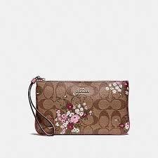 New Coach Floral Print Signature Canvas Large Wristlet Wallet Bag Clutch  F29369