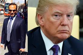a posite image of george papadopoulos posing for a photo on a street and a head