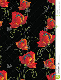 Seamless Fancy Floral Pattern On Black Background Stock Vector