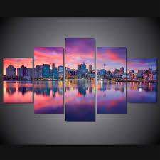 unframed 5 panels sydney skyline scenery canvas print painting