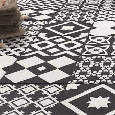 the vibe black patterned wall and floor tiles 223 x 223mm for a striking italian style these patterned tiles are perfect for the floor and wall