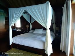 Queen Size Four Poster Canopy Bed With White Curtains Post Drapes ...