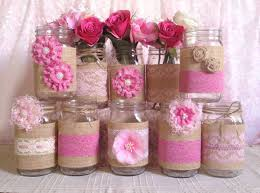 Decorative Jars And Vases 100 pink burlap and lace covered mason jar vases wedding bridal 52