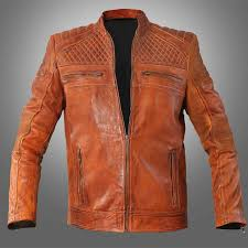 cafe racer classic cult waxed brown leather jacket men s leather jacket for
