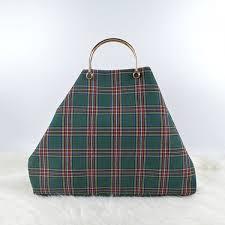 sh012 las handbags classic fashion cloth grid tote bags diy custom canvas bag