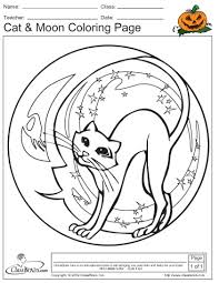 Small Picture Halloween Coloring Page Cat Moon ClassBrain Holidays