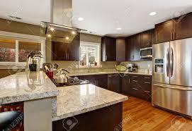 Kitchen Hardwood Floor Dark Brown Kitchen Room With Steel Appliances And Hardwood Floor