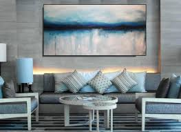 large blue and gray wall art