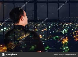 City Lights Video And Photography Businessman And City Lights Double Exposure Stock Photo