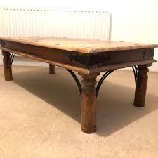 vintage indian coffee table chunky wood metal stud design