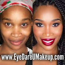 before and after glam makeup red lip