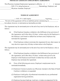 Physician Employment Agreement PHYSICIAN ASSISTANT EMPLOYMENT AGREEMENT TERMS OF AGREEMENT PDF 7
