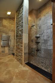 Open Shower Curving Glass Shower Room Plus Shower On The Dark Brown Tile Wall