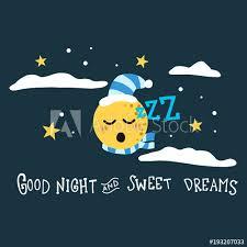 good night and sweet dreams moon cartoon vector ilration