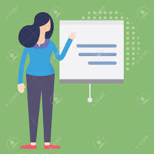 Lady Presenting Business Plan Businesswoman Standing In Front