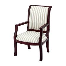 Chair With Armrests Striped Upholstery Mahogany