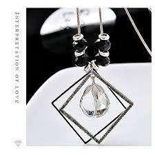 square silver grey crystal black crystal korean fashion box sweater chain high