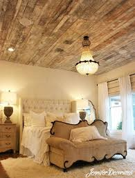 Beautiful bedroom decorating ideas, love the reclaimed wood ceiling!