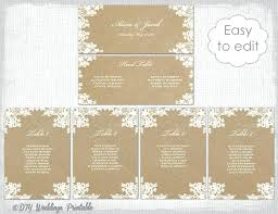 seating chart template rustic lace printable cards wedding table plan you edit word instant round s