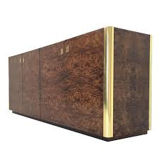 handsome burl wood and brass credenza by century furniture for
