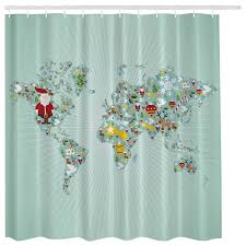 Aqua Blue Santa Claus Christmas World Map Globe Fabric Shower