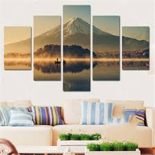 home office artwork. Living Room Mount Fuji 5 Panels Wall Art Canvas Paintings Decora For Home Office Artwork