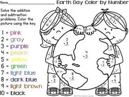 Number worksheets, Simple addition and Color by numbers on PinterestYour students will love practicing addition and subtraction facts with these fun Earth Day theme color