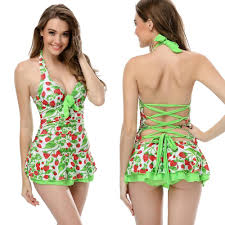 Best In Stock Women Sexy Deep V Neck Strawberry Print Bow Swimsuit