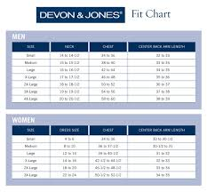 Size Chart Devon Jones