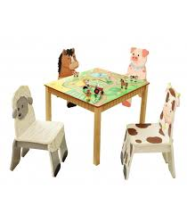 kids wooden table and set of 4 chairs happy farm room collection