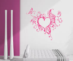 sweet pink floral wall art butterfly decorative heart vinyl decal sticker artistic wallpaper feminine large girl on wall art heart designs with wall art adorable gallery of floral wall art flower prints wall art