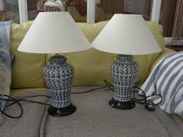 t blue and white table lamps bought from marks and spencer very nice condition