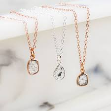 rose gold and silver small diamond slice necklace