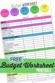 Budget Worksheet A Free Monthly Budgeting Planner Mom S Take Family