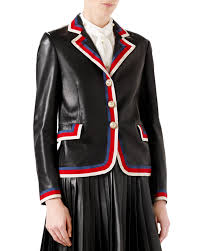 embroidered leather jacket black