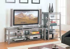 alphaline silver metal and glass tv stand rectangle shape finish contemporary