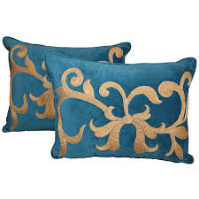 teal and gold pillows. Simple Pillows Pair Of Dark Teal Velvet Appliqud Gold Metallic Pillows For Sale And T