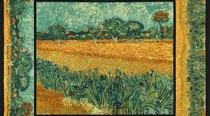 23 x 44 panel vincent van gogh museum art artist country field farm flowers garden painting look cotton fabric panel avg 15101 238
