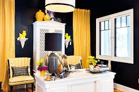 black and white office decor. custom crafted drapes and chairs add a colorful punch to the black white home office decor