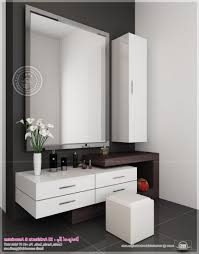 Futuristic Dressing Table Design With Square Wall Mirror Also